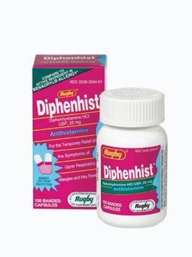 Diphenhist (diphenhydramine) 25mg Capsules 100ct