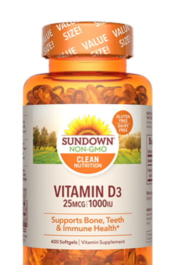 Sundown Vitamin D3 1000IU Softgels 400ct