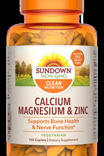 Sundown Calcium + Magnesium + Zinc Caplets 100ct