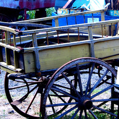 Cart in the boat repair area