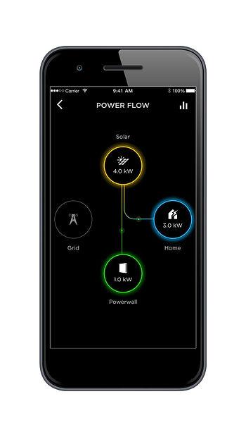 TESLA BATTERY POWERWALL PHONE APP TO MONITOR USAGE