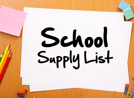 School Supply List Available (2017-2018)