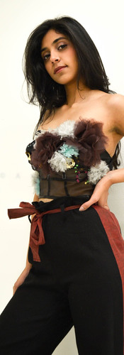 Hand Embroidered & Fabric Flower Bustier