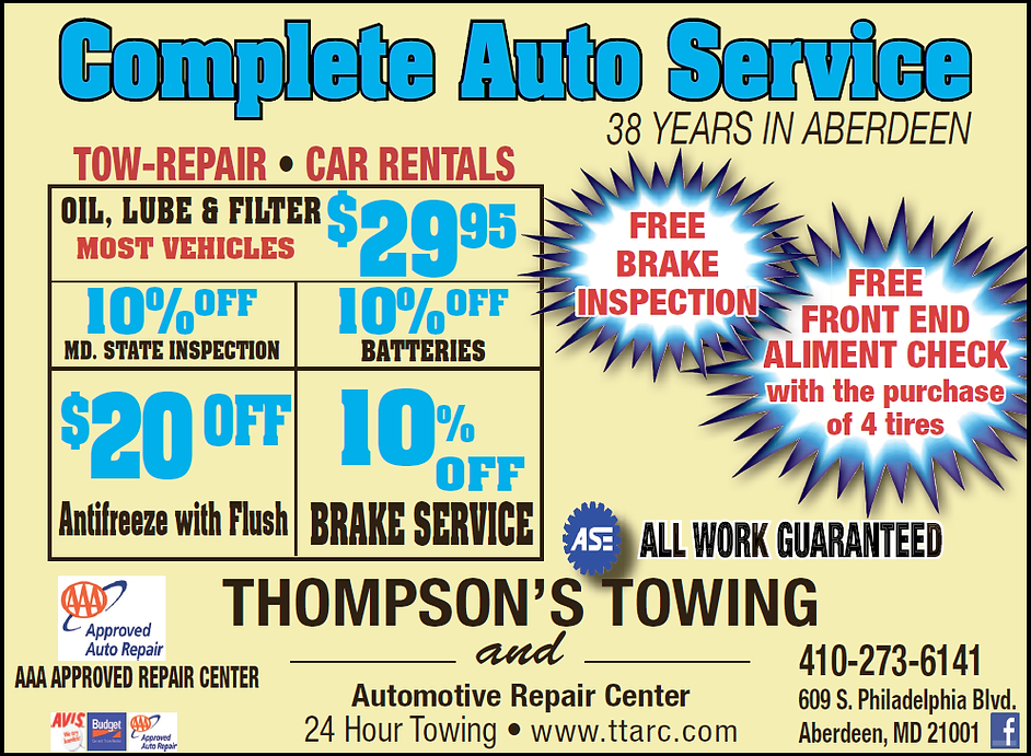 Thompson's Towing and Automotive Repair Center Specials