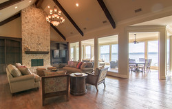 Living Room, fireplace, bay view
