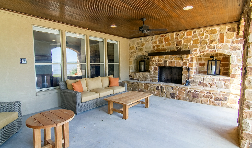 Patio, fireplace view