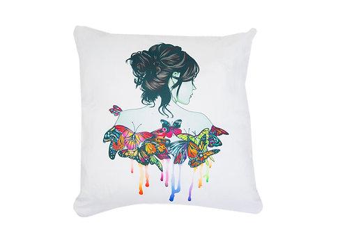 """Housse de coussin décoratif """" femme papillon"""""""