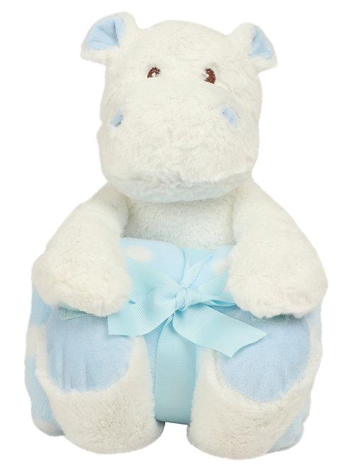 Hippo blanc avec couverture en polaire imprimée -- MUMBLES