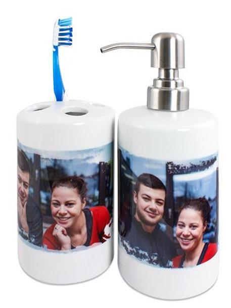 Kit Distributeur de savon & Porte-brosses à dents en céramique