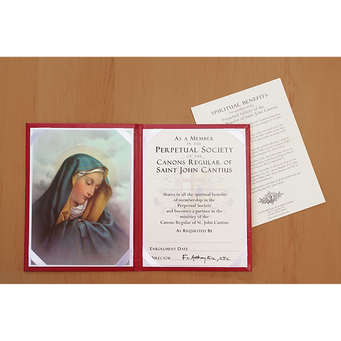 Enrollment with Virgin Mary folder