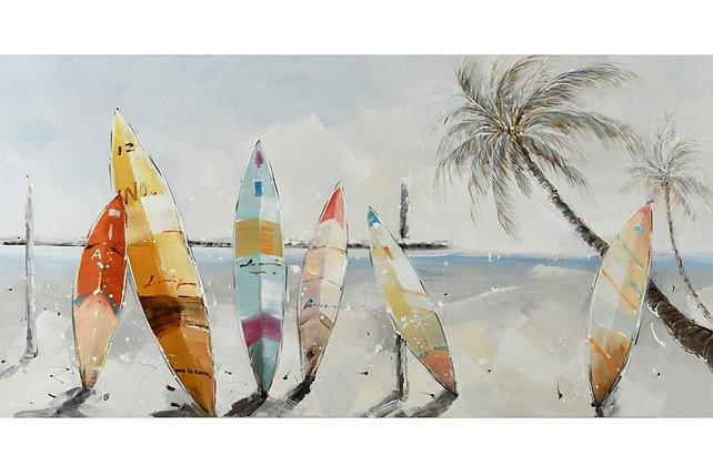 Toile Surf et Palmier peinte à la main GALLERY 70x140 cm