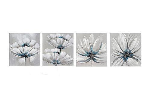 Set de tableaux assortis Fleurs Grises