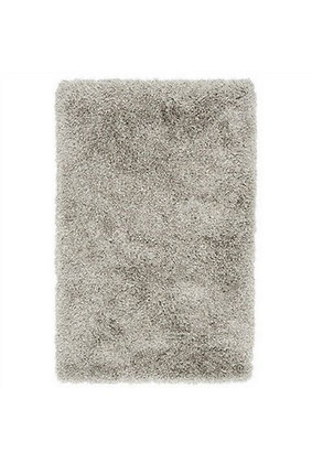 Tapis de salon poils longs FLOOD Argent