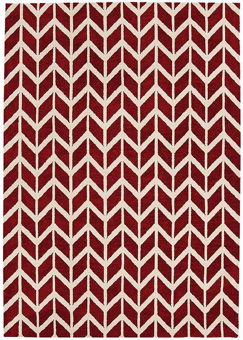Tapis Salon Moderne Design GEOX Chevron Red