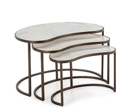Set de 3 tables d'appoint marbre et métal