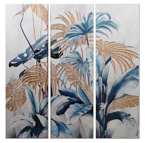 Triptyque en Bois naturel Palme Bleu GALLERY 90x90 cm