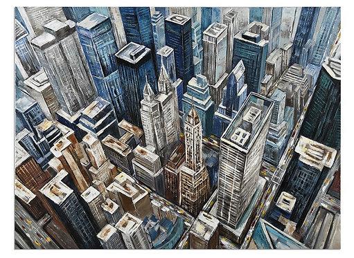 Tableau en toile effet Rooftop Peinte à la main GALLERY 90x120 cm