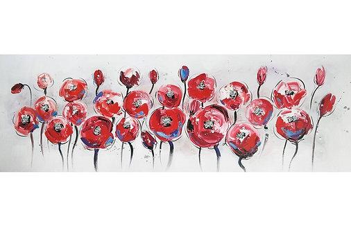 Toile Fleurs Rouges peinte à la main GALLERY 50x150 cm