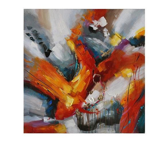 Toile Abstrait colorée peinte à la main GALLERY 80x80 cm