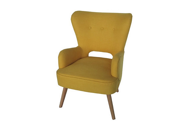 Fauteuil tissu jaune accoudoirs - Collection STANDING