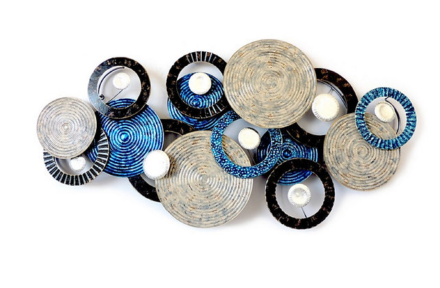 Décoration murale disques Bleu électrique - Collection DEL ARTE