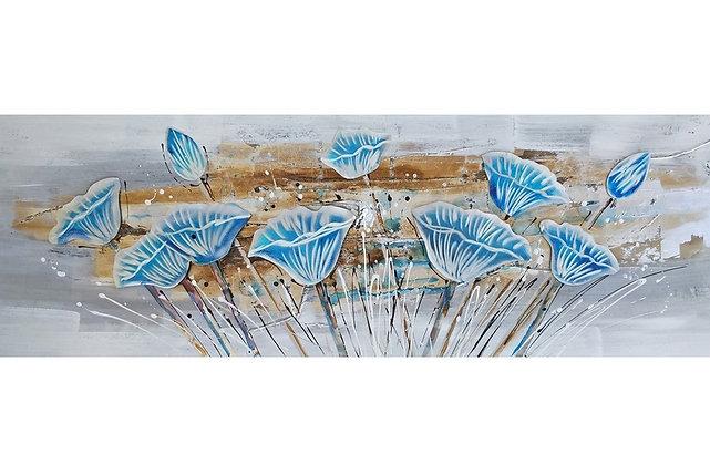 Toile Fleurs Bleues Relief peinte à la main GALLERY 50x150 cm