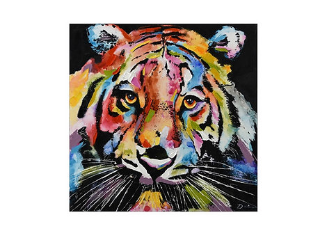 Toile Tigre Multicolore fond noir peinte à la main - Collection GALLERY