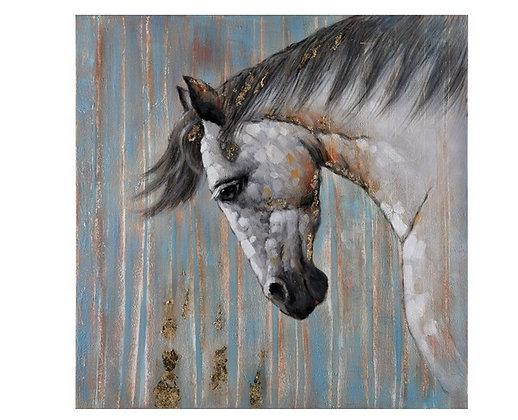 Toile Cheval Bleu et Or peinte à la main GALLERY 100x100 cm