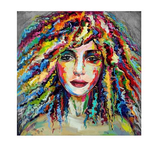 Toile Portrait Femme peinte à la main GALLERY 80x80 cm