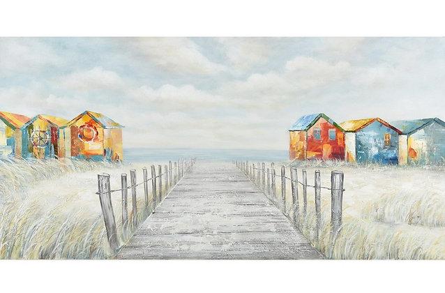 Toile peinte à la main Cabines de Plages GALLERY 70x140 cm