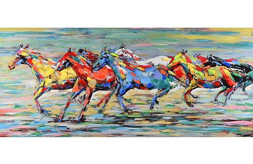 Toile Chevaux peinte à la main GALLERY 60x140 cm