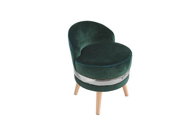 Fauteuil velours vert cercle métal - Collection STANDING
