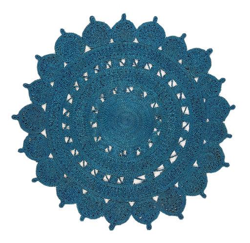 Tapis Rond style oriental JADE Bleu