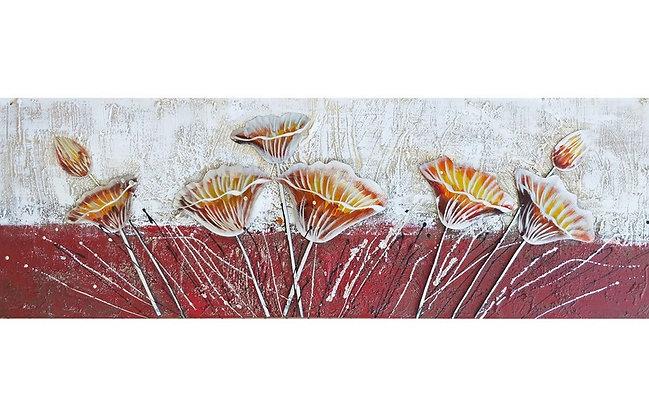 Toile Fleurs Oranges Relief peinte à la main GALLERY 50x150 cm