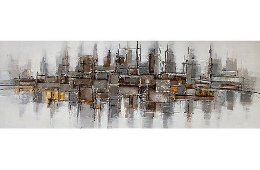 Tableau Abstrait Argent Peint à la main GALLERY 50x150 cm