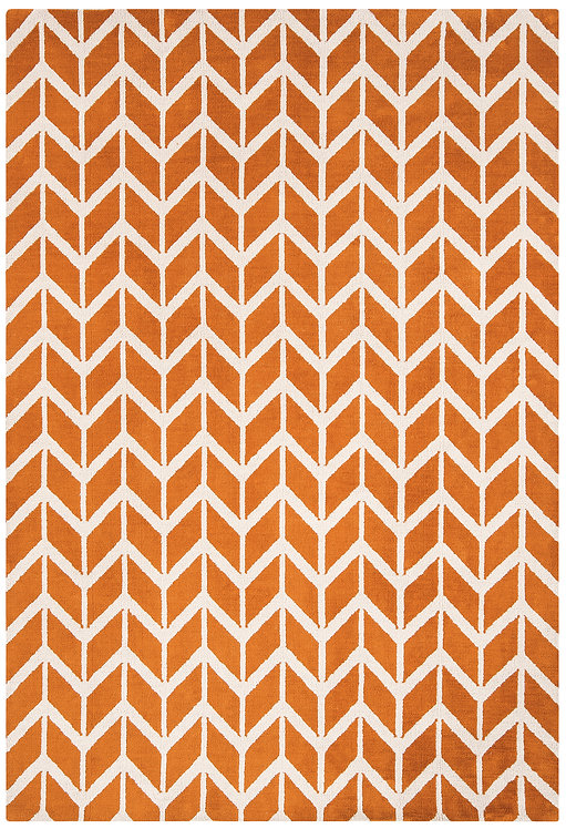 Tapis Salon Moderne Design GEOX Chevron Orange