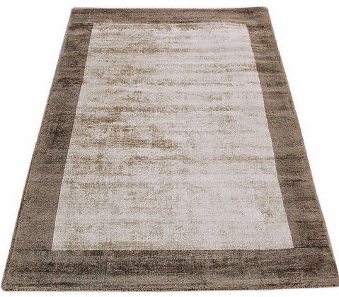 Tapis de salon moderne bordures LAME Marron