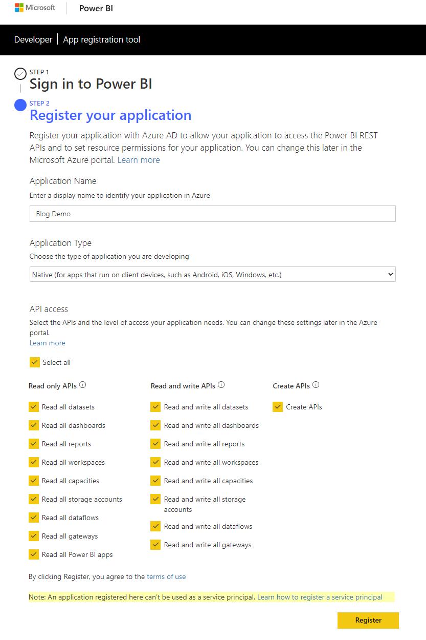 screenshot of power bi app registration tool