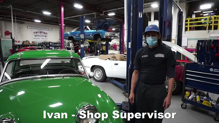 Ivan performing a hood conversion on this 1960 Austin Healey Bugeye Sprite