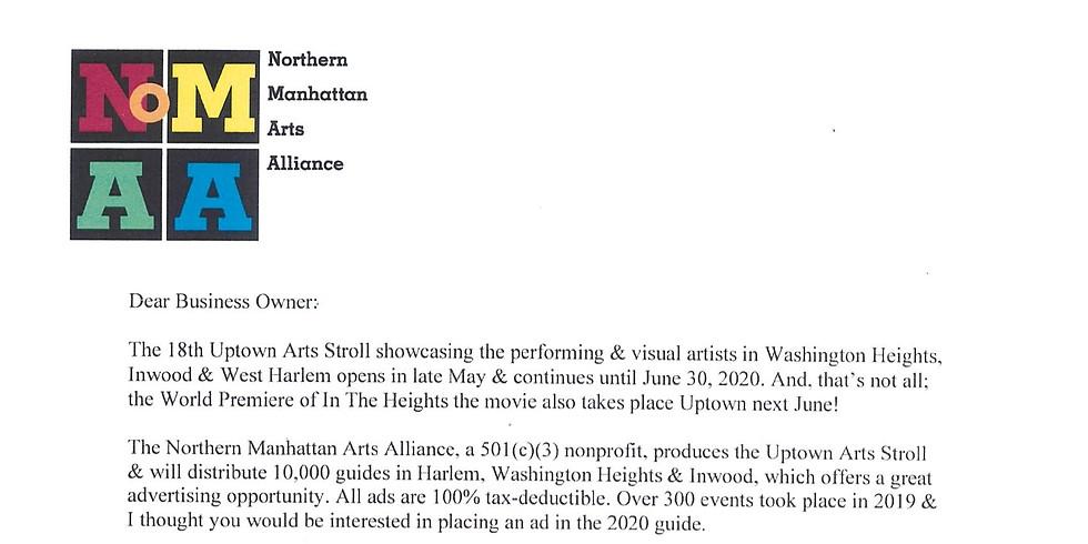 NOMMA- Nothern Manhattan Arts Alliance Event Ads Deadline