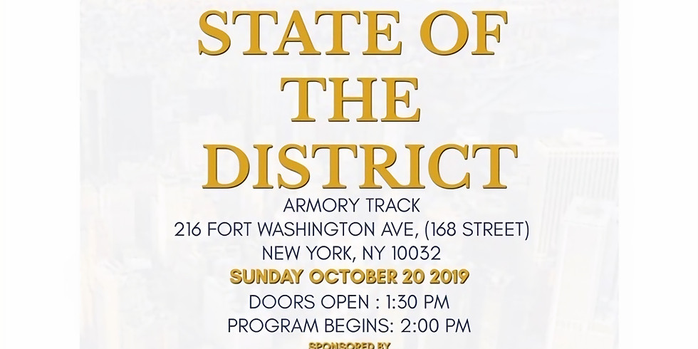 The City Councilmen of New York Ydanis Rodriguez cordially Invites you to The State Of The District at the Armory Track.
