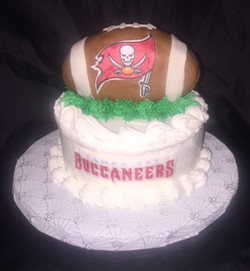 6in. Football topped cake