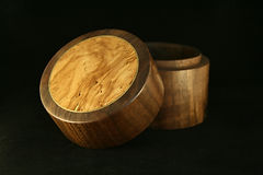 Box - Turned Lidded Box - Walnut with Ol
