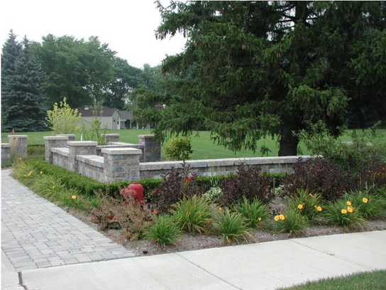 Landscaping With Garden Wall and Pillars