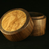 Turned Lidded Walnut Box with Olivewood Insert and Brass Inlay - SOLD