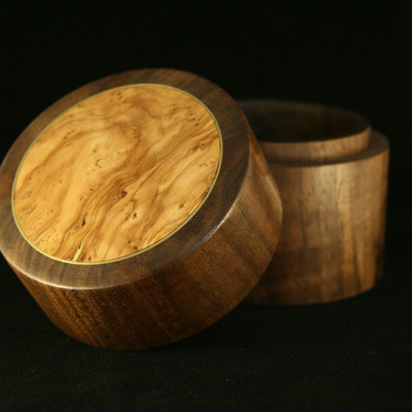 Turned Lidded Walnut Box with Olivewood Insert and Brass Inlay