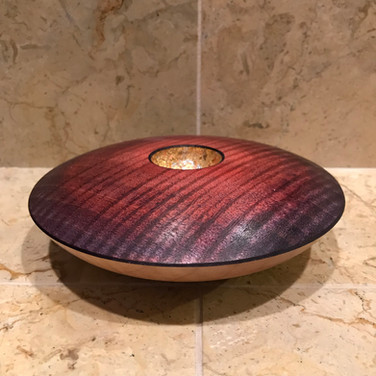 Decorative Purple Stained Ash Bowl with Gold Leaf