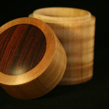 Turned Lidded Curly Maple Box with Cocobolo Insert
