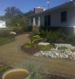 Renovated Front Yard Entry With Brick Paver Walkway By All Terra Landscape Services