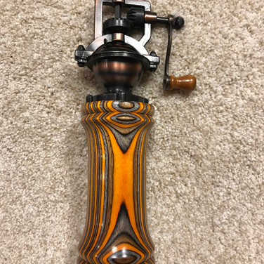 Antique Multi-Colored Crank Style Peppermill